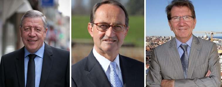 De g. à d. F. Rochebloine, R. Rouquet et G. Teissier