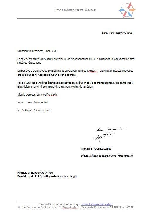 Lettre de Félicitations de François Rochebloine au Président Sahakian