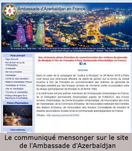 Le communiqué mensonger de l'Ambassade d'Azerbaïdjan