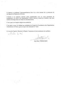 La lettre du Secrétaire d'Etat Jean-MArc Todeschini