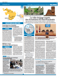 Article du Parisien du 31 juillet 2017 - Sarcelles s'engage auprès des Arméniens du Haut-Karabagh